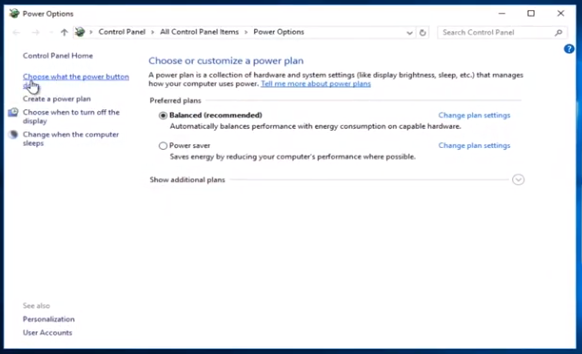 Windows Power Button Options