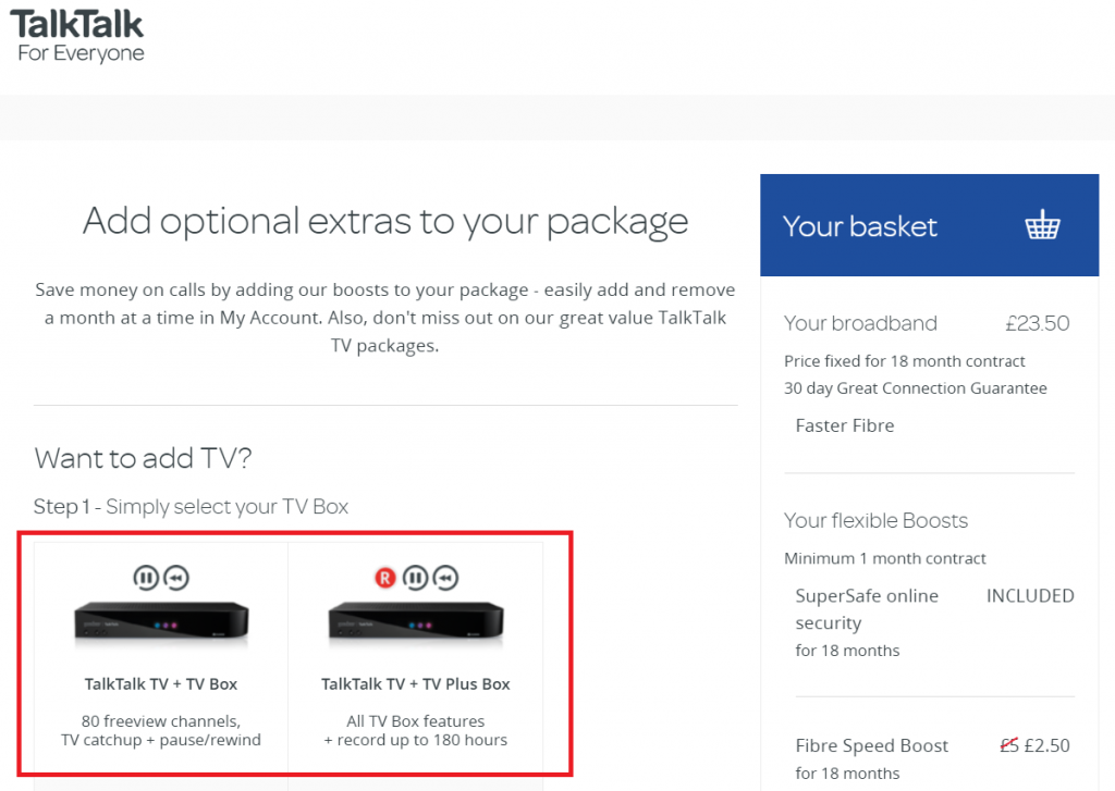 Add TalkTalk TV Package