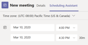 Microsoft Teams Scheduling Assistant
