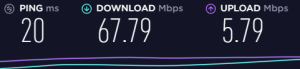 ookla internet speed test results